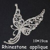 Shiny strass steentjes applique trim 1 stks/partij 10x19 cm clear crystal vlindervorm appplique naaien strass voor jurk