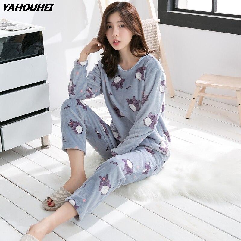 Thick Warm Flannel   Pajama     Sets   for Women 2018 Autumn Winter Long Sleeve Coral Velvet Pyjama Girl Cute Cartoon Sleepwear Homewear