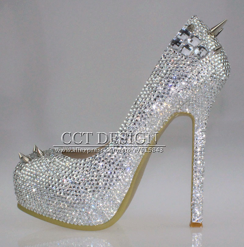 free shipping sparkly silver crystal and rhinestone high heels with spikes ultra high heels shoes for wedding party prom 2015 sexy women black rhinestone rivet high heels wedding party prom shoes with silver spikes rivet pumps free shipping