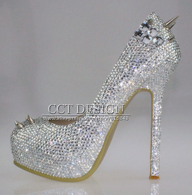 free shipping sparkly silver crystal and rhinestone high heels ...