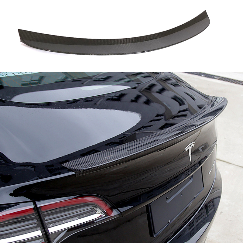 For Tesla Model 3 Car Rear Trunk Boot Lip Spoiler Carbon Fiber 2016 2017 2018 2019 for