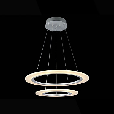 Creative 2 Rings Acrylic Droplight Modern LED Pendant Light Fixtures For Living Dining Room Hanging Lamp Indoor Lighting 40cm acrylic round hanging modern led pendant light lamp for dining living room lighting lustres de sala teto