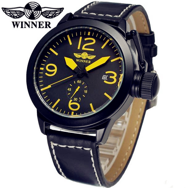 Fashion WINNER Men Luxury Brand Black Date Leather Band Casual Watch Automatic Mechanical Wristwatches Gift Box Relogio Releges fashion winner men luxury brand date leather band casual watch automatic mechanical wristwatches gift box relogio releges 2016