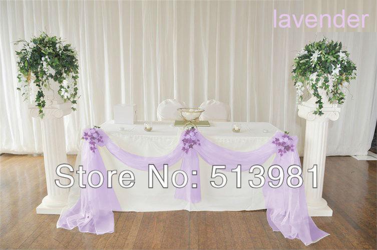 High Quality Romantic Wedding Design 5M135M Sheer Organza Chair Belt DIY Banquet Big Table Decor Skirt Party Supplies