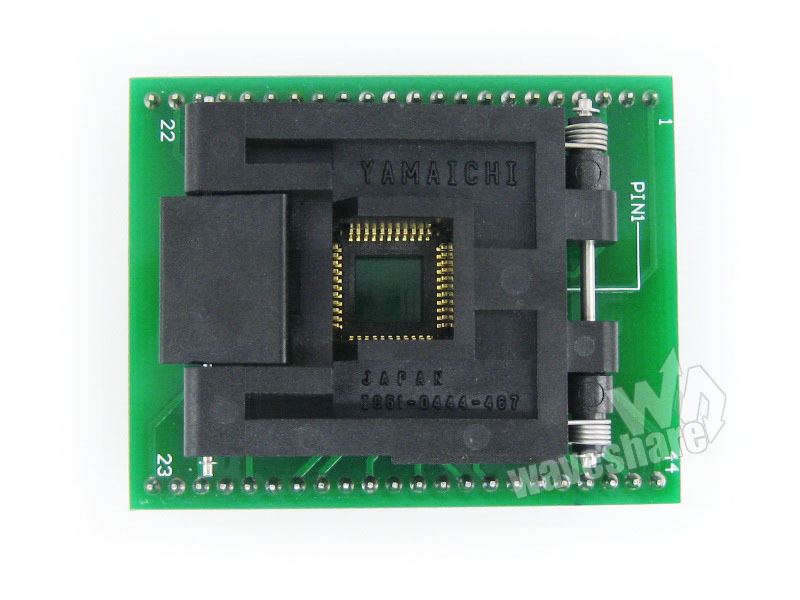 module Waveshare QFP44 TO DIP44 (A) Yamaichi IC Programmer Adapter Test Socket 0.8mm Pitch for QFP44/TQFP44/FQFP44/PQFP44 Packag ic open top qfp44 stm8 core board stm8a stm8s stm8l download seat test socket programmer adapter tqfp44 lqfp44 pitch 0 8mm