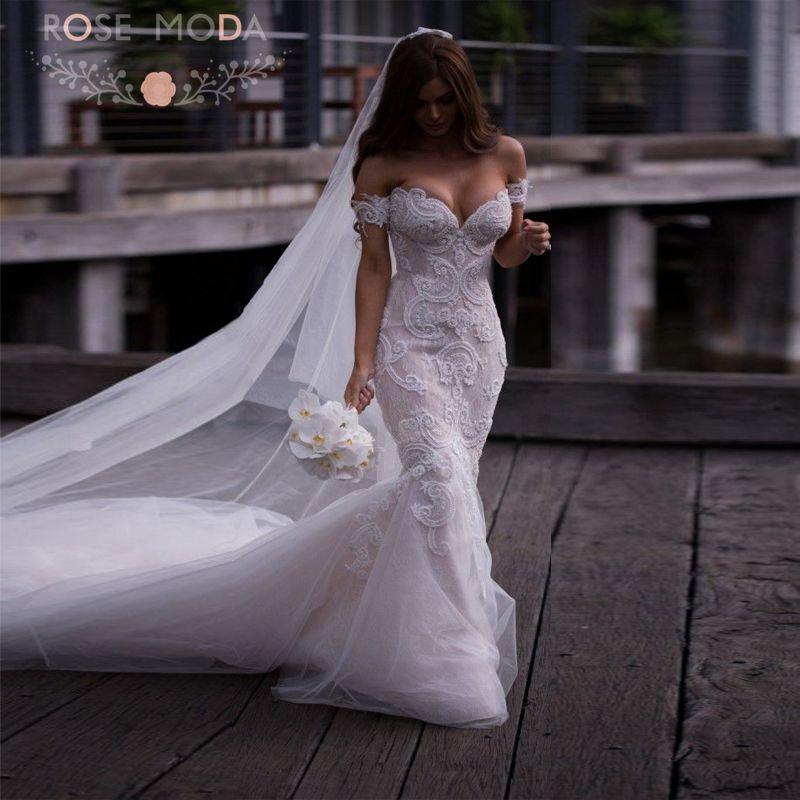 Buy sexy deep sweetheart pearl beaded for Beaded wedding dress designers