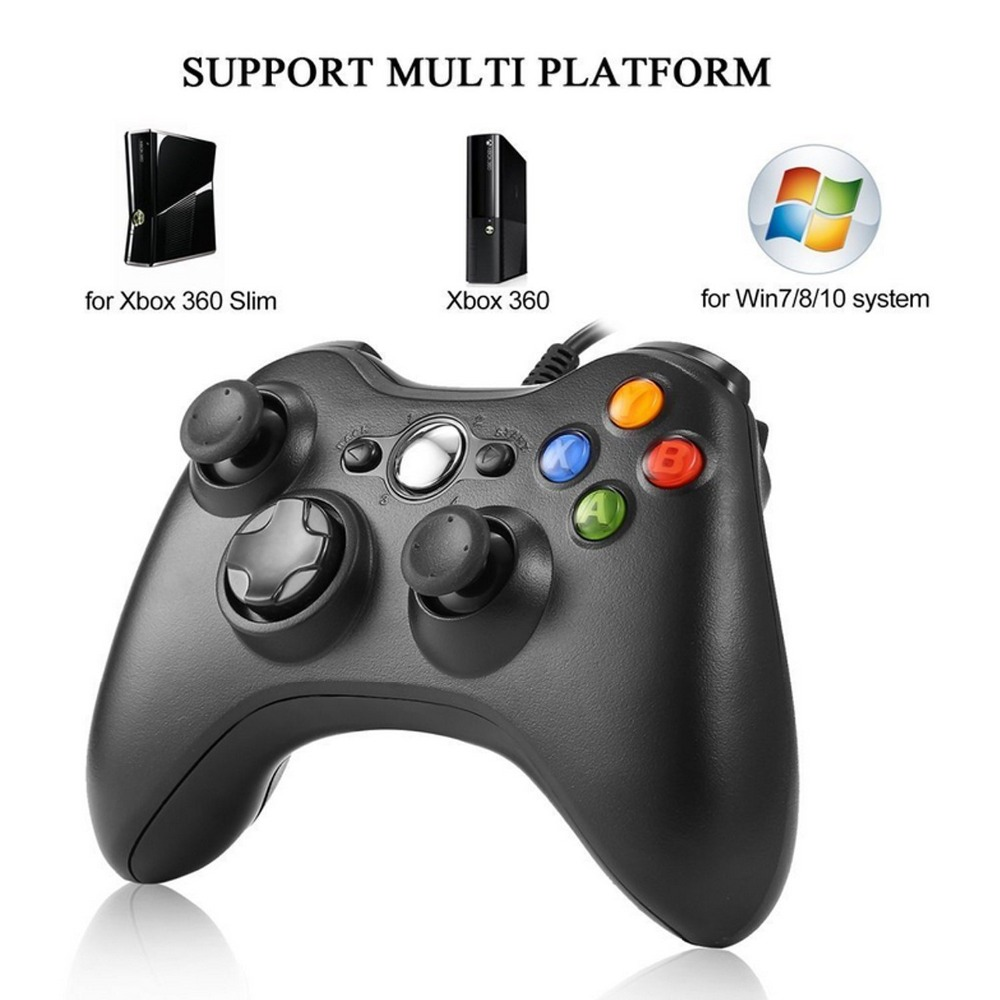 Game Gamepads For Xbox 360 Joystick USB Wired Joypad Gamepads Controller For Official Microsoft PC for Windows 7 8 10 gamepad usb wired joypad controller for microsoft for xbox slim 360 for pc for windows7 black color joystick game controller