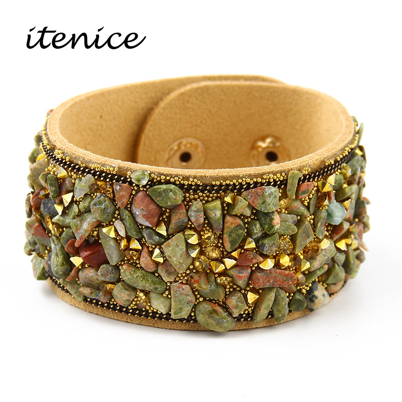 2020 Hot Sale Fashion Women Wrap Bracelet With Natural Stones Vintage Shake Leather Bracelets Bangle With Buttons Female Jewelry