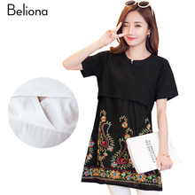 Embroidery Nursing T Shirts Black White Breastfeeding Tops 2017 Summer Maternity Clothes Short Sleeve Pregnancy Clothing