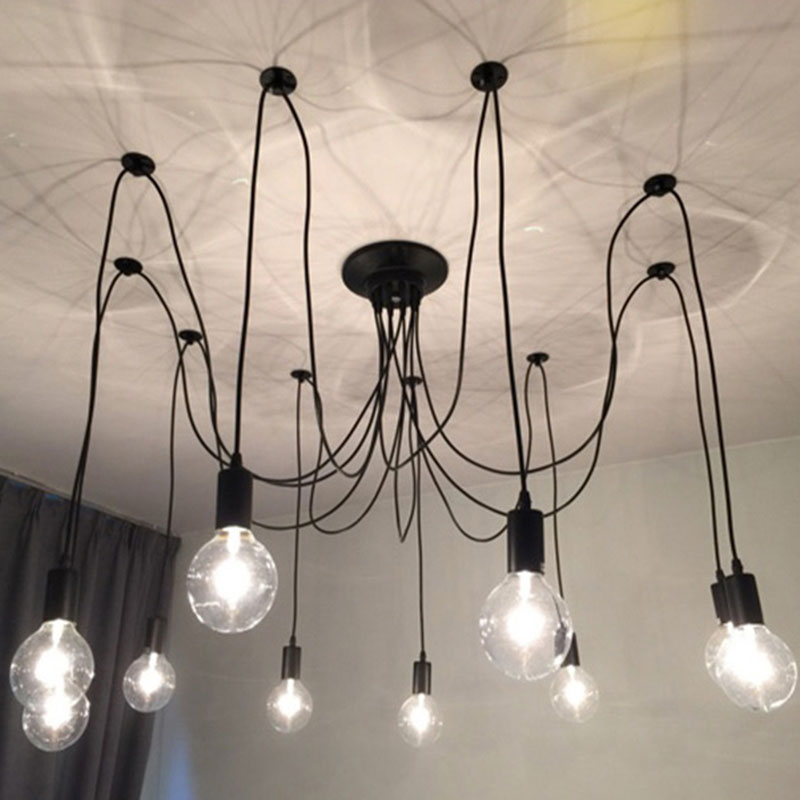 Modern Nordic Retro Edison Chandelier Lighting Vintage Loft Antique Adjustable DIY E27 Spider Pendant Hanging Lamp