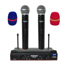 Freeboss KU 22 Lange Bereik Dual Channel 2 Handheld Mic Zender Professionele Karaoke Uhf Draadloze Microfoon Systeem