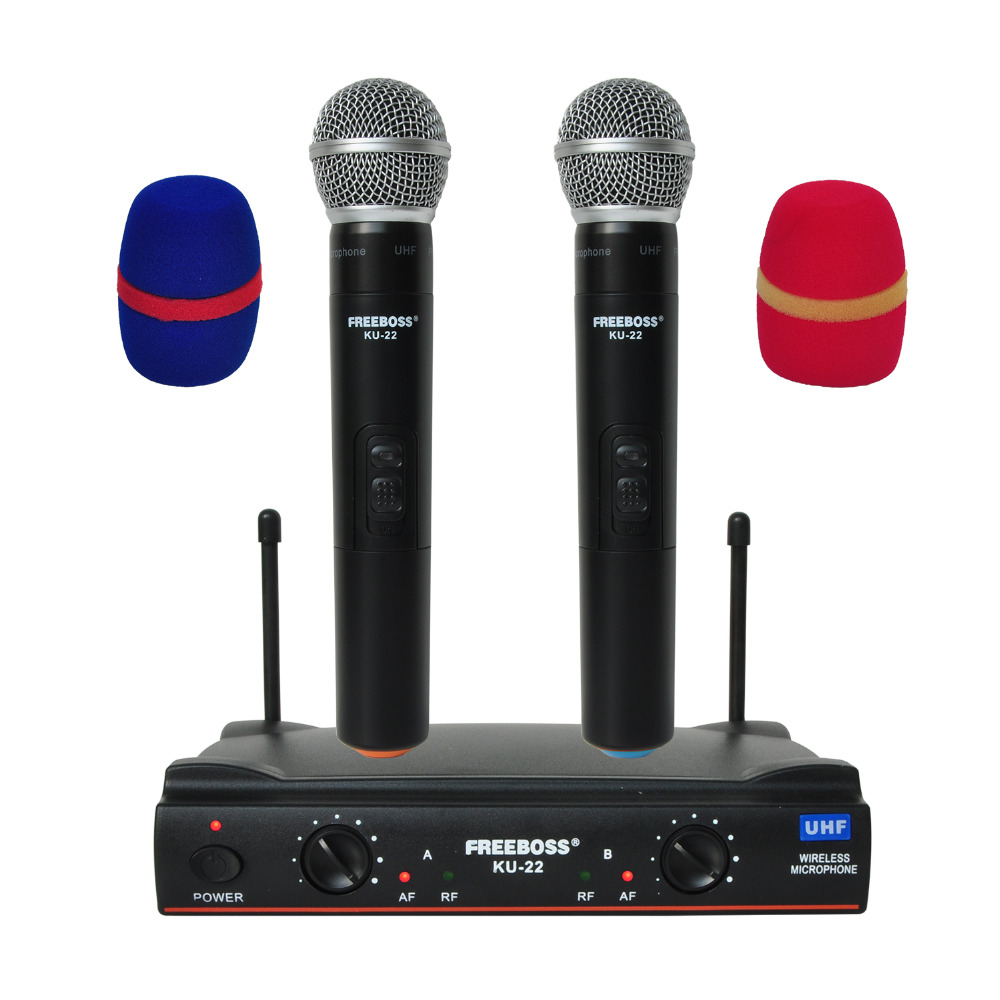 Freeboss KU-22 UHF Long Range Dual Channel 2 Handheld Mic Transmitter Professional Karaoke UHF Wireless Microphone System boya by whm8 professional 48 uhf microphone dual channels wireless handheld mic system lcd display for karaoke party liveshow