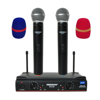 Freeboss KU 22 UHF Long Range Dual Channel 2 Handheld Mic Transmitter Professional Karaoke UHF Wireless Microphone System