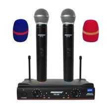 Freeboss KU 22 daleki zasięg podwójny kanał 2 ręczny mikrofon nadajnik profesjonalne Karaoke mikrofon bezprzewodowy UHF System