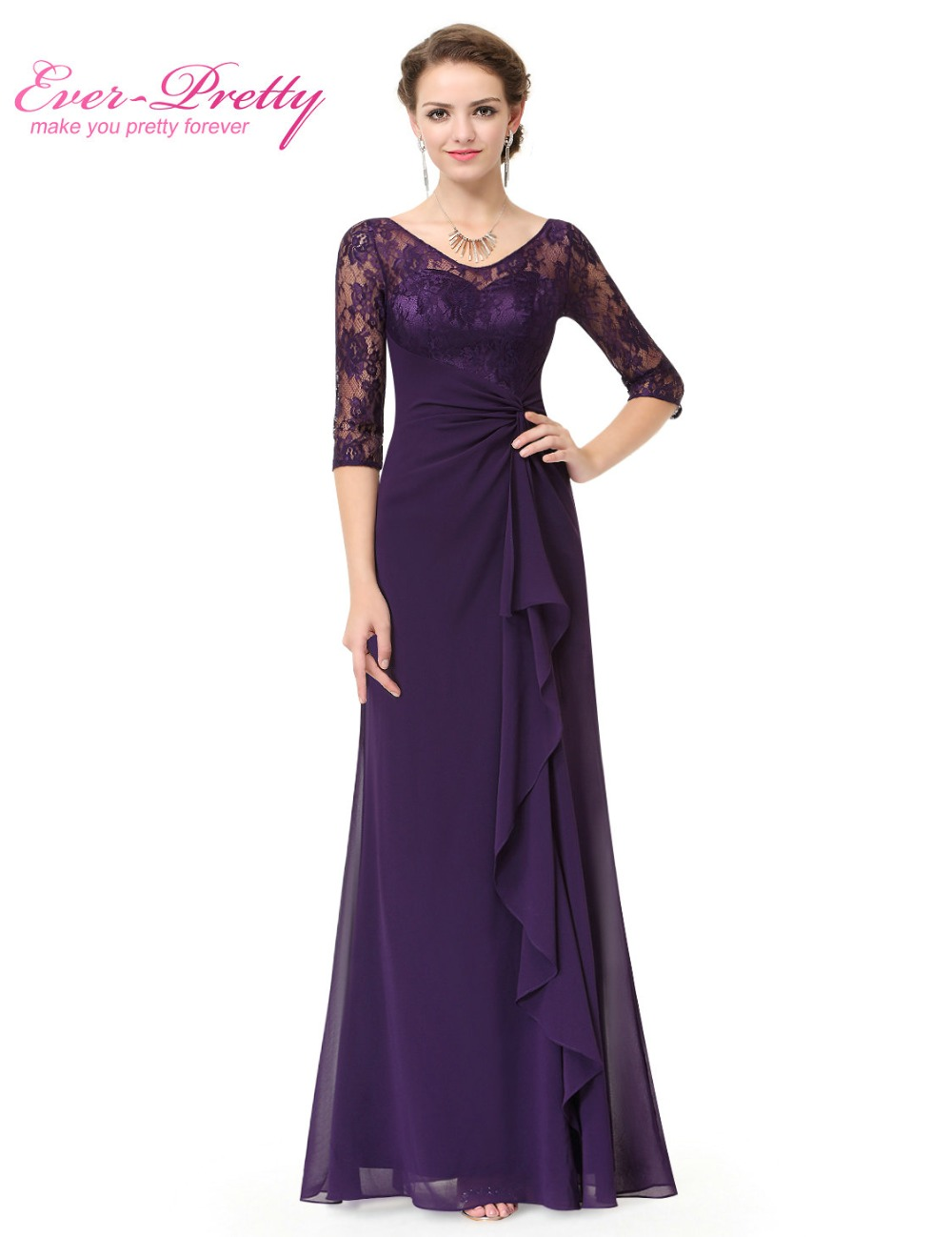 Long Purple Mother Of The Bride Dresses Ever Pretty Ep08890 A Line Half Lace Sleeve In From Weddings