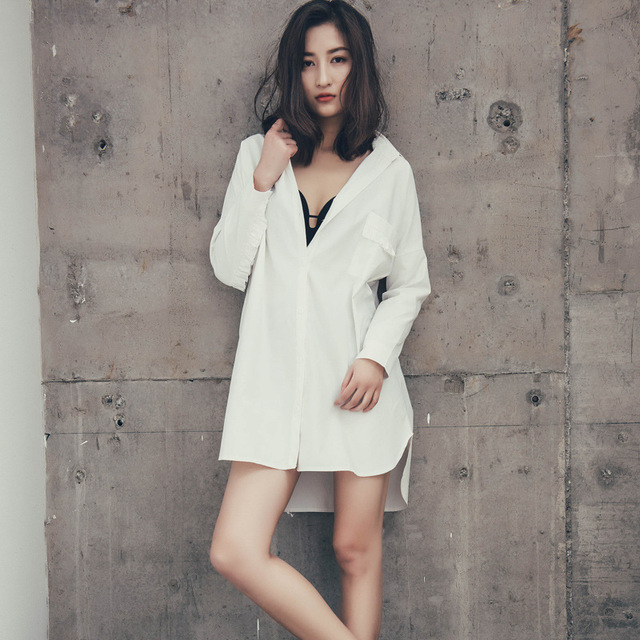 227a194bb870 Spring Nightgown White Shirt Ladies Sexy Loose shirt Boyfriend Wind  Long-sleeved Cotton Yards Temptation