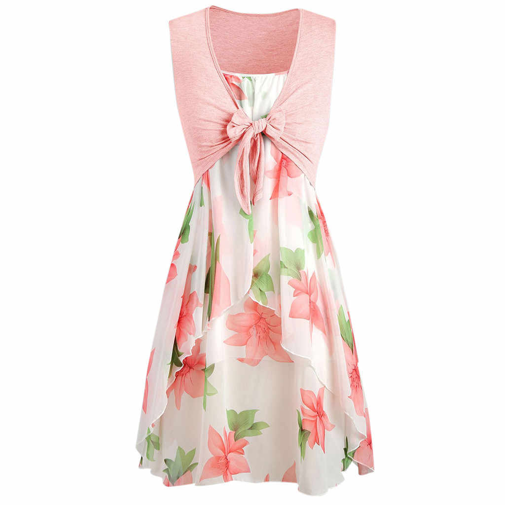 2Pcs A Set Women Casual Summer Mini Dress Sleeveless Slash Neck Cute Flower Print Sundress Plus Size Vestidos Beach Holiday Robe