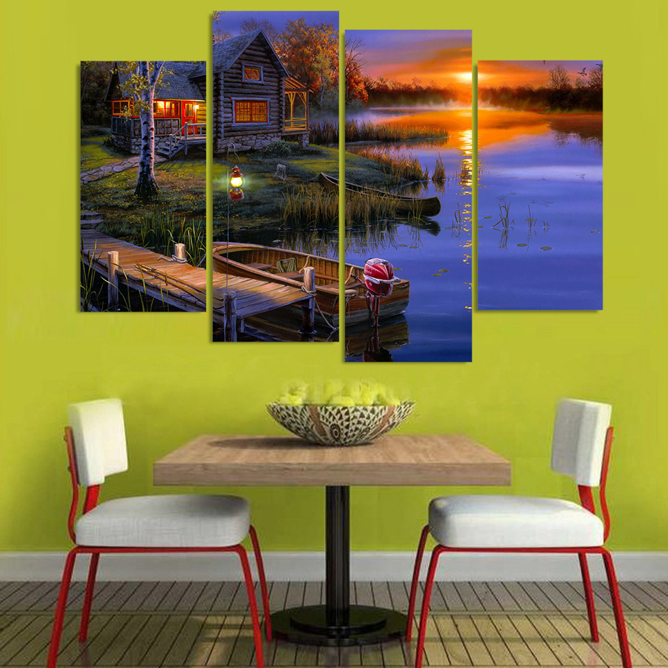 4 Piece Canvas Painting Evening Lake Boat Lodge HD Printed Canvas ...