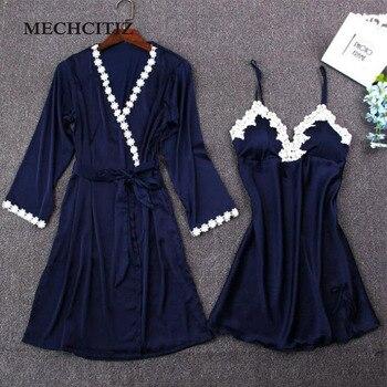 Lace Silk Robe & Gown Set Sleep Sleepwear
