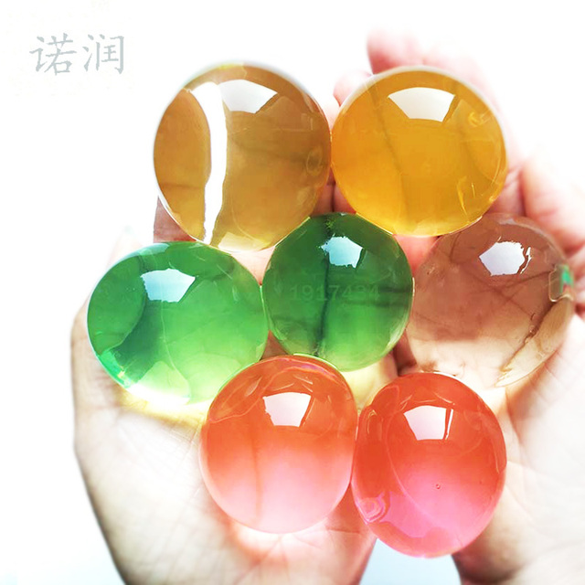 50pcs 30-50mm Pearl Shaped Soft Crystal Soil Grow Magic Jelly Ball Hydrogel Water Beads Plant Flower Cultivate Mud Home Decor