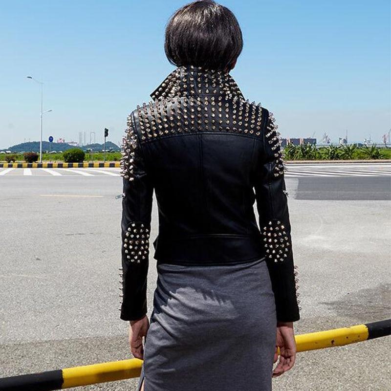 Mince En Étoiles Cuir Casaco Manteau Col Automne Noir Feminino Stand Biker Femmes Pointes argent Perfecto Veste Rivets Argent 2017 Moto qzfvwxI