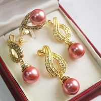 hot sell new 1Set AAA 12mm Pink Shell Pearl Pendant Necklace Earrings Ring Set NEW NEW