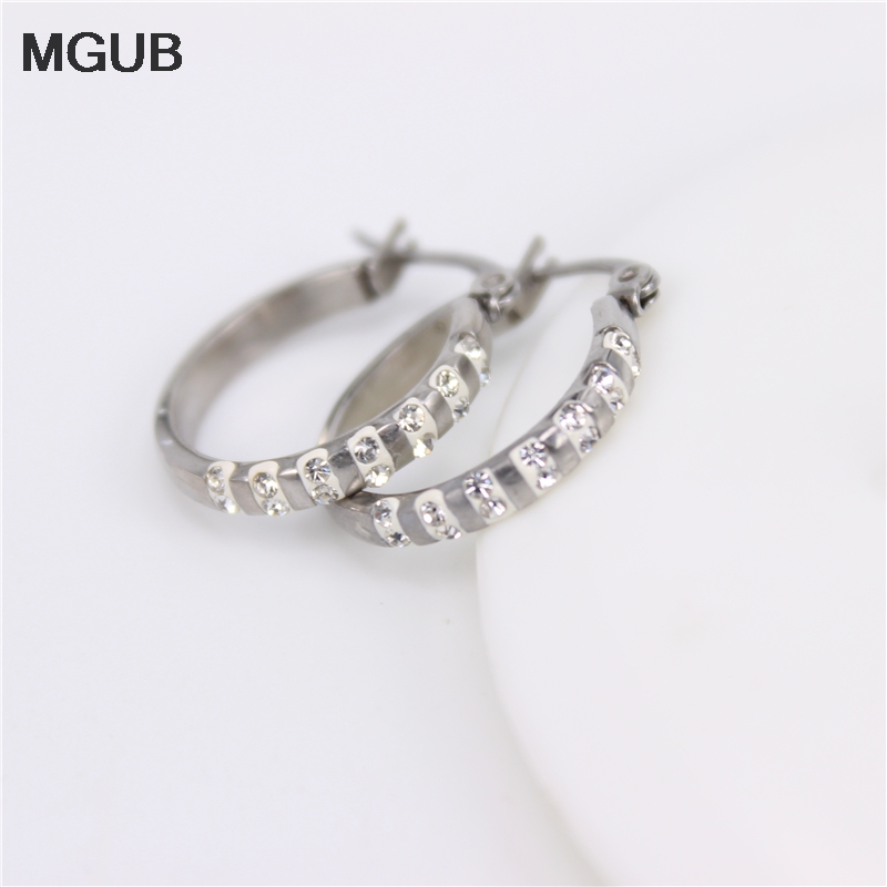 2ef6dfd20 MGUB Wholesale stainless steel New Arrival Small Little Hoop Earrings for Women  Girl with Crystal Earring Accessories Gift JX4-in Hoop Earrings from  Jewelry ...