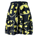 NEW 1044 Summer Sexy Girl Comics Black The Batman Logo Printed Cheering Squad Tutu Skater Women Mini Pleated Skirt Plus Size