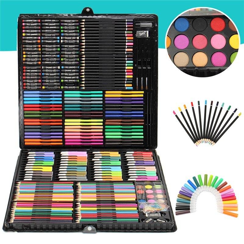 288 pièces Art peinture dessin Art aquarelle peinture Crayons de couleur stylo Crayons ensemble enfants dessin ensemble peinture apprentissage