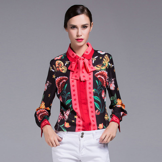 Women Blouses and Shirts 2017 Spring Autumn Brand Designer Runway Blouse Ladies Long Sleeve Floral Snake Print Plus Size Tops