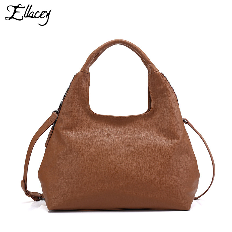 2018 Ellacey New 100% Real Genuine Leather Bag Ladies Shoulder Bag OL Style Women Handbag Tote Bag Retro Female Cross-body Bag barbie 2018 women s shoulder bag leather simple style black ladies handbag female fashion cross body bags for women