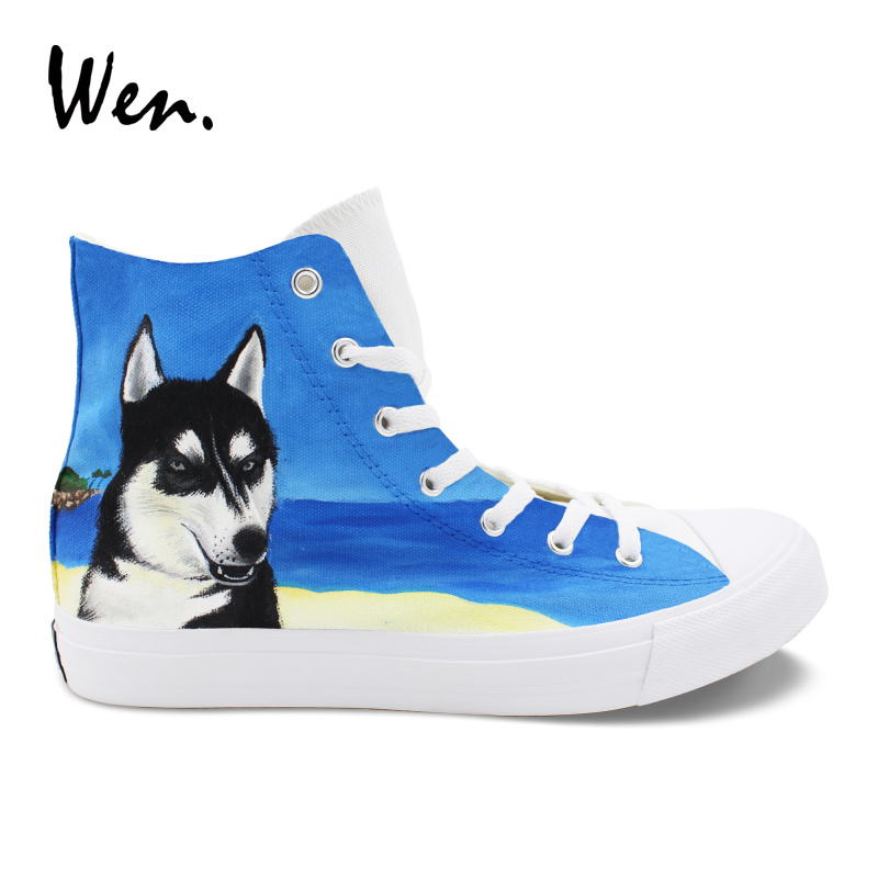 Wen Hand Painted Athletic Shoes Pet Dog Husky Beach Design High Top Custom Rubber Sneakers Man Woman's Canvas Shoes Walking