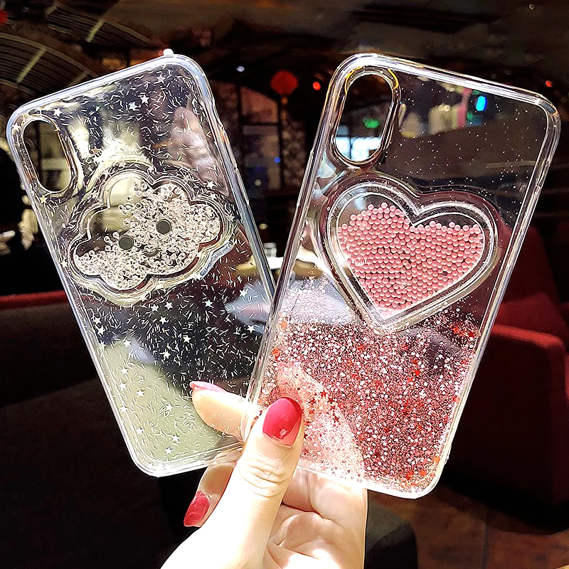 Liquid Heart Glitter Powder Smile Face Clouds Case For iPhone 6 S 6s 7 8 Plus X XR XS Max Ice Cream TPU Dynamic Beads Back Cover (6)