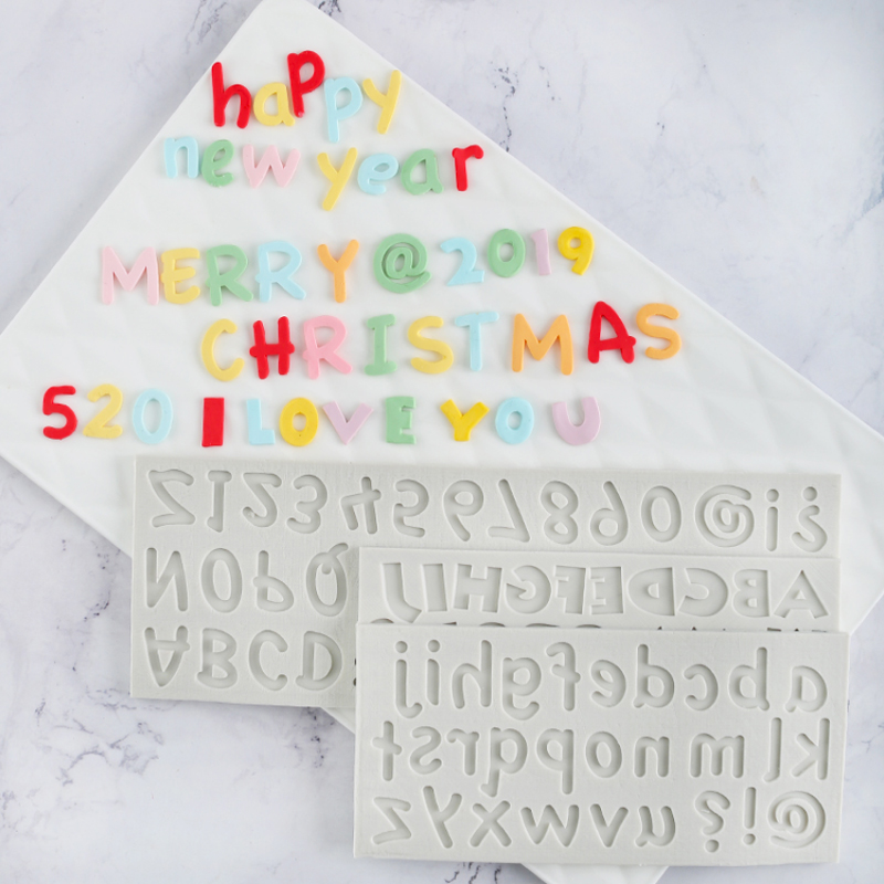 Numbers & <font><b>Letters</b></font> Silicone Mold Fondant Mould <font><b>Cake</b></font> <font><b>Decorating</b></font> <font><b>Tools</b></font> Chocolate Gumpaste Mold, Sugarcraft, Kitchen Accessories image