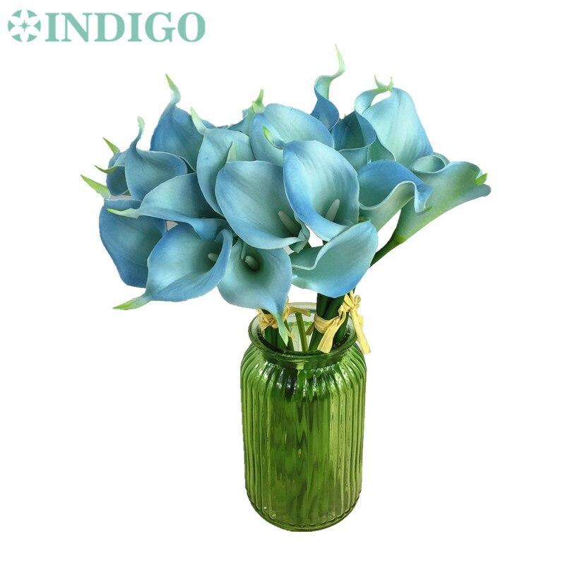 Индиго-мини Размеры Небесно-Голубой Калла Лили (16 шт. каллы) настоящее сенсорный декоративный цветок Свадьба невесты цветок оптовая продажа...