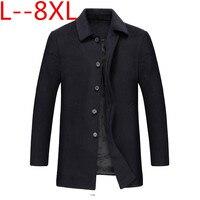 Большие размеры 10XL 8XL 6XL куртки и пальто Однобортный Повседневное Мужские полушерстяные куртки Полный зимой для мужчин шерстяное пальто 5XL