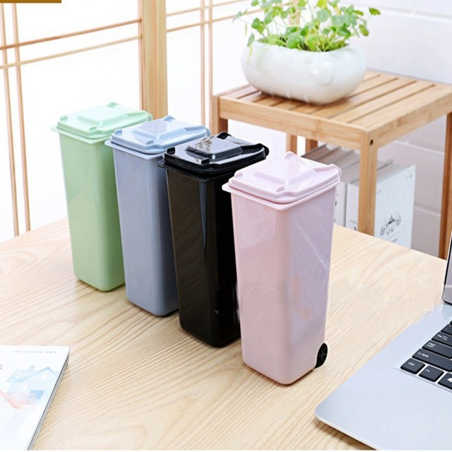 Garbage Storage #27 - Creative Mini Plastic Trash Bin Shaped Desktop Garbage Cans Storage Box  Flip Trash Cute Small Rubbish
