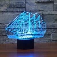 3D Sailing Boat Vessel Night Light For Childrens Room 7 Color Changing Led Lights For Home