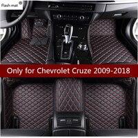 Flash Mat Lederen Auto Vloermatten Voor Chevrolet Cruze 2009 2010 2011-2016 2017 2018 Custom Foot Pads Automobiel tapijt Auto Covers