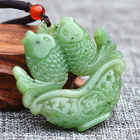 Drop Shipping Natural Green Hetian Jades Pendant Hand Carved Love fish Pendant Necklace Gift for Women Men's Jewelry Free Rope