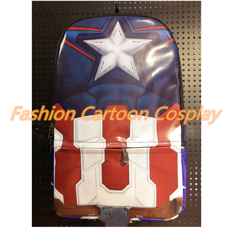 ФОТО Captain America School Backpack Marvel The Avengers BatMan Leather Travel Bag Fashionable Printing Laptop Bagpacks Mochila