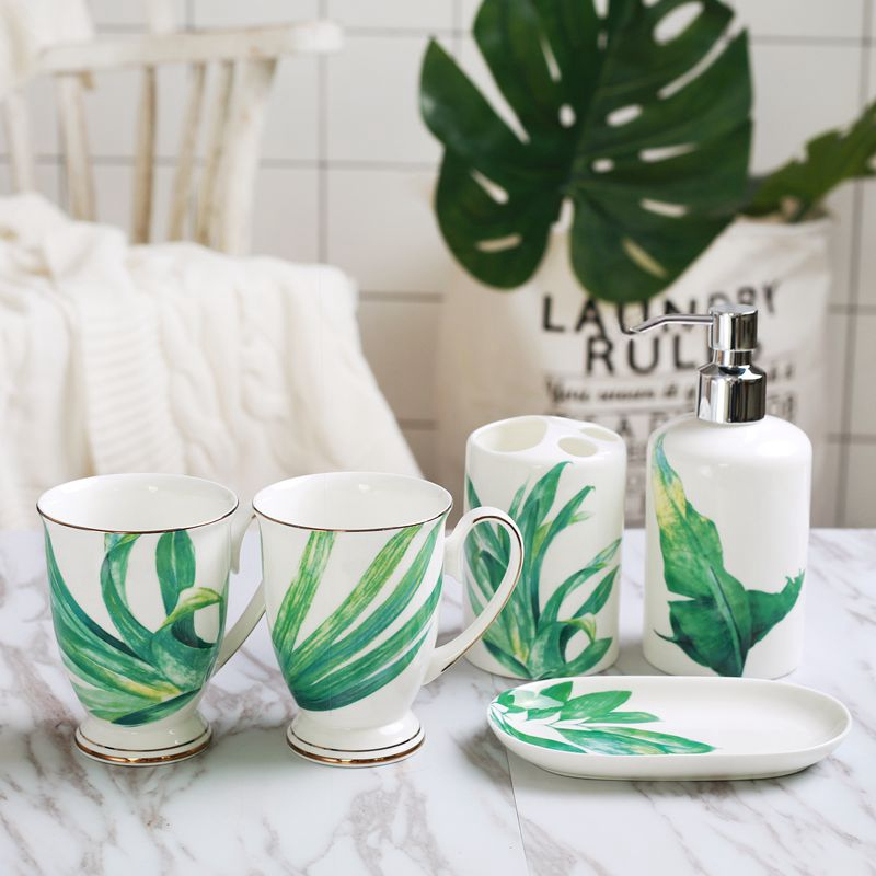 5 pièces mode plantes salle de bain ensemble ménage lavage brosse tasse, distributeurs de savon liquide, savon vaisselle