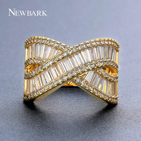 NEWBARK Newest X Cross Shaped Gold Color Rings For Female 16mm Pave Eternity CZ Two Rows