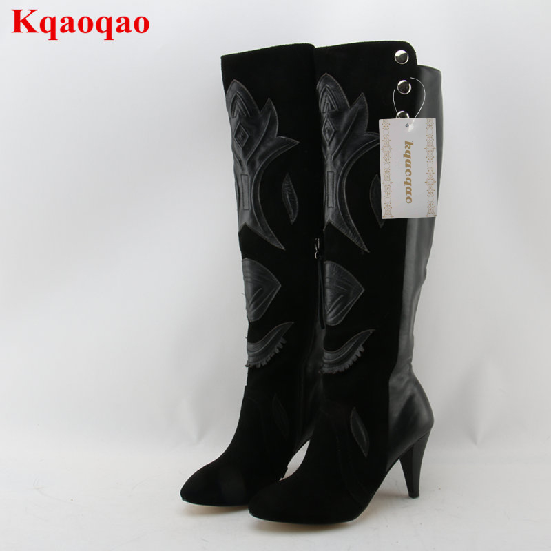 Pointed Toe Flower Pattern Women Over Knee Boots Scarpe Donna Luxury Brand Super Star Runway Shoes Long Booties Thigh High Boots