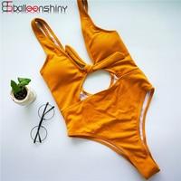 BalleenShiny One Piece Swimsuit Swimwear Bodysuit Women 2017 Solid Push Up Monokini Sexy Hollow Out Bathing