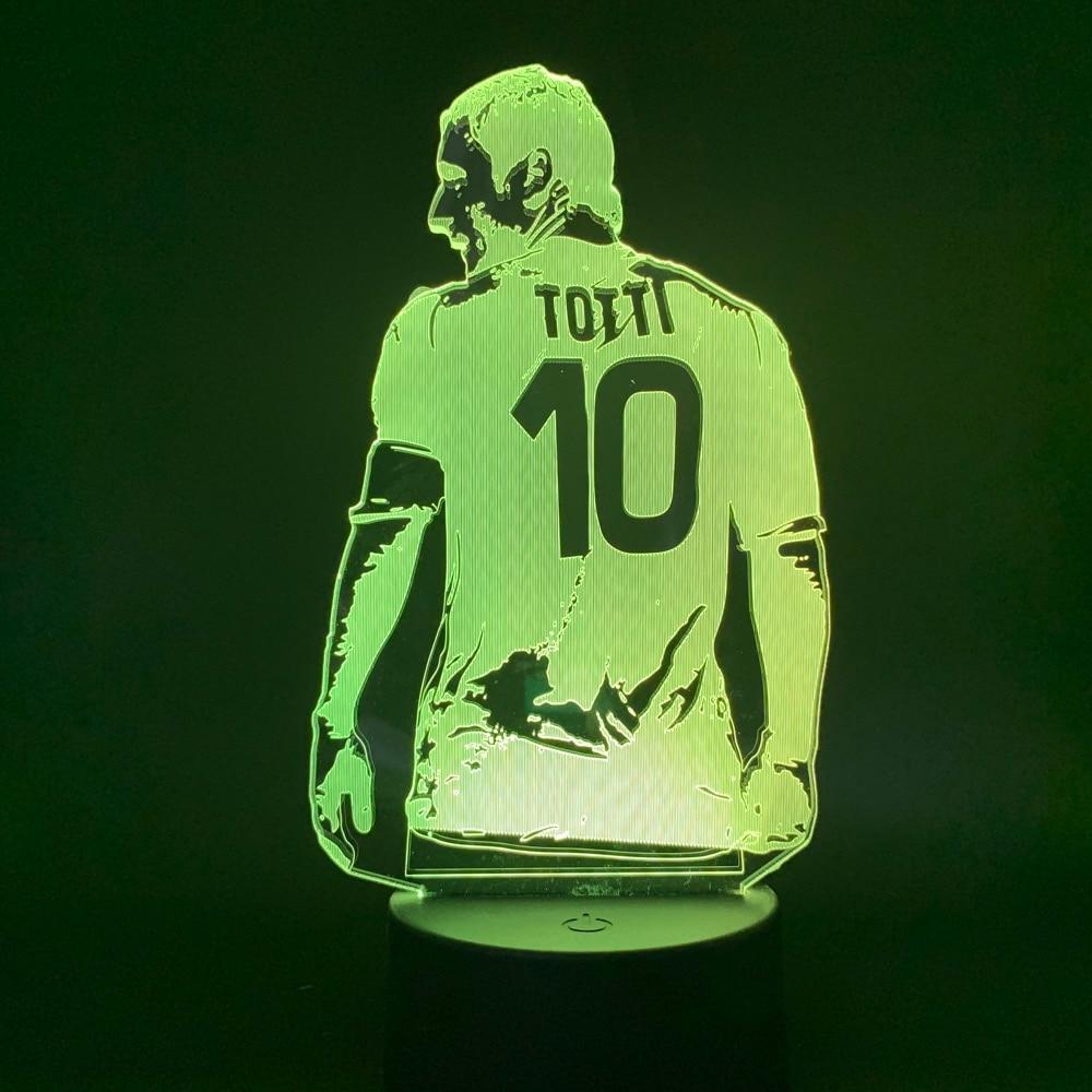 Led Night Light Soccer Football Player Francesco Totti Back View Figure For Office Room Decor Gift For Boyfriend Boys Table Lamp