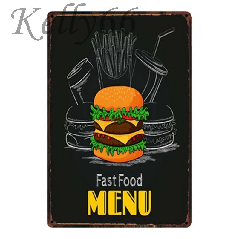Fast Food Menu Hamburger Metal Sign Tin Poster Home Decor Bar Wall Art Painting 20*30 Cm Size Y-1710 Obliging Kelly66