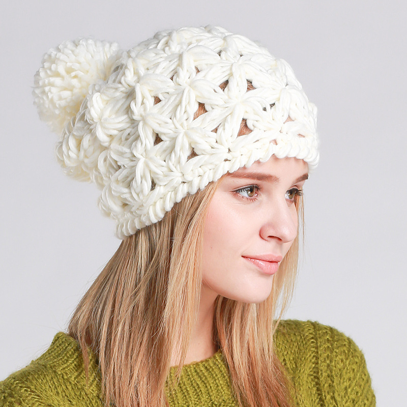 Autumn Winter Fashion Women Pompom Beanies Handmade Knitting Hollow Hat Ear Warm Cap Girl Skullies Beanies application of laplace transform to some mhd problems