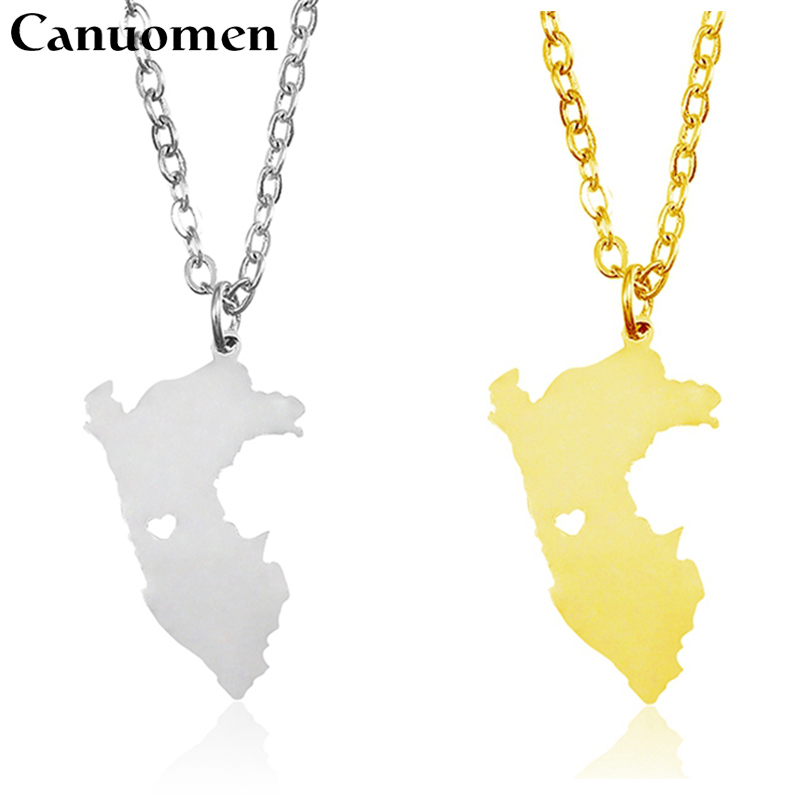 10 Pcs/lot Peru Map Pendant Necklace Stainless Steel Silver Gold Love Hometown Gift Custom Engraving Women Necklaces Jewelry