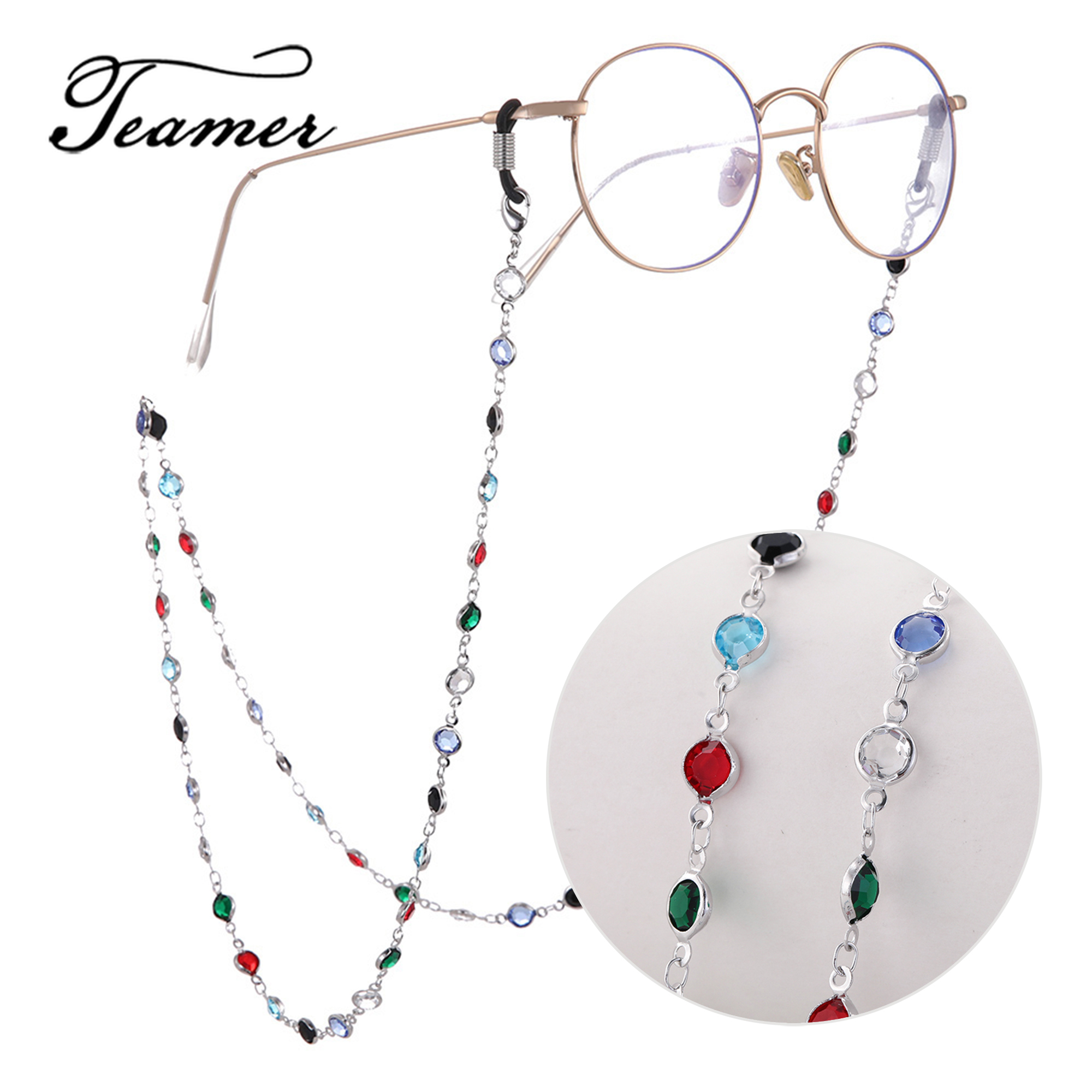 Teamer Colorful Crystal Bead Eyeglass Holder Fashion Glasses Chain Women Eye Accessories Eyewear Straps Cord Sunglasses String